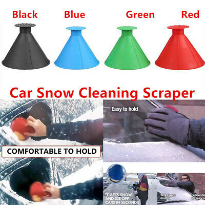 UK Magical Car Windshield Ice Snow Remover Scraper Tool Shaped Round Funnel Cone
