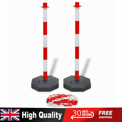 10m Plastic Chain + Post Set Traffic Guard Security Bollard Warning Sign Barrier