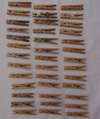 39 Vintage Strong Sprung Wooden Clothes Pegs Ideal for crafts