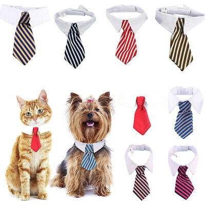 Striped Pet Bow Tie Collar Adjustable Necktie Bowknot Small Dog Cat Clothes UK
