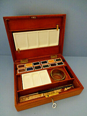 Early Vintage Winsor & Newton  Wooden Artist's Paint Box With Key.