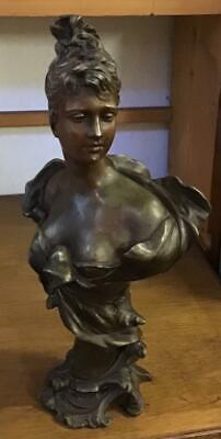 Fine VICTORIAN METAL BUST Of A YOUNG LADY Signed J FAIRO circa 1890's