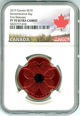 2019 $10 Canada Silver Proof Ngc Pf70 Red Poppy Remembrance Day First Releases
