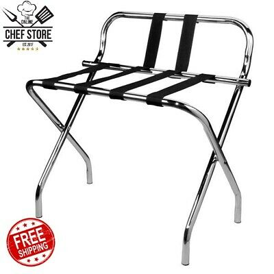 Chrome Folding Heavy Duty Metal Luggage Rack Guard Rubber Feet Silver 132 Lb