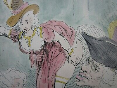 JAMES GILLRAY, Antique, H/Coloured, Etching, SWEARING to the CUTTING MONSTER