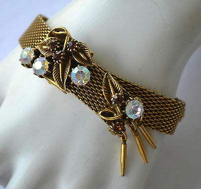 Amazing! Estate Antique Early 1900'S Art Nouveau Rhinestone, Leaf, Mesh Bracelet