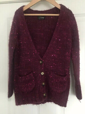 Next Girls Pink Sparkle Chunky Knit Oversized Cardigan Age 5-6 Years Vgc