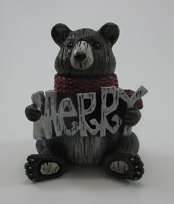 K Bear holding merry WOODLAND FRIENDS Christmas FIGURINE Ganz