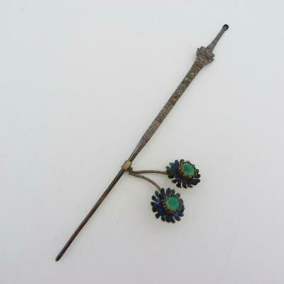 Antique Chinese Silver And Enamel Cucuk Sanggul Hair Ornament Imperial Sword