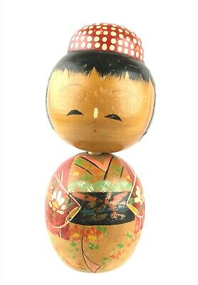 "Vintage Japanese Wooden Antique Woman Doll Kokeshi Kimono 6.25"" Bobblehead"