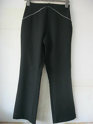 Ladies/Girls Black E-Vie Trousers With Front Diamonte Detail. Size 10.