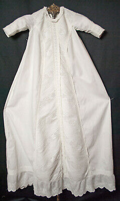 Victorian Long Christening Gown With Fancy Pintucks And Embroidery