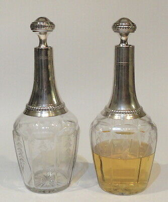 Beautiful Antique Pair French Etched Glass & Sterling 950 Silver Bottles