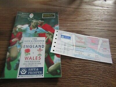 Save & Prosper International Rugby Union - England v Wales in 1994 + Ticket