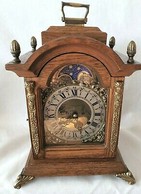 Hermle Mantel Clock Dutch Made Shelf Moon Dial 8 Day Wind Up Key Wind