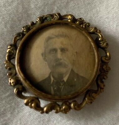 Antique Brass Mourning Or Political Campaign Pin Pinback Man Button Memoriam