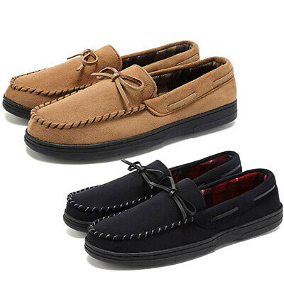 Men Loafer Slippers Suede Slip On House Shoes Moccasin Memory Foam Driving Flat