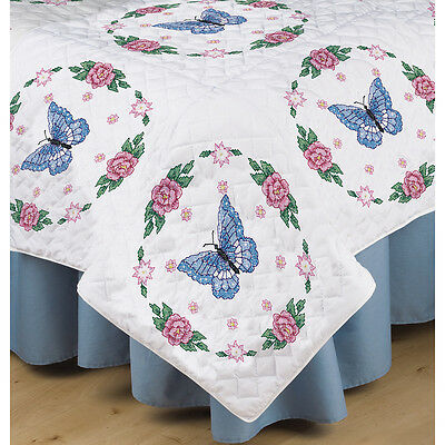 "Tobin Stamped White Quilt Blocks 18""X18"" 6/Pkg-Butterfly Rose"