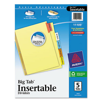 Avery Worksaver Big Tab Reinforced Dividers, Multicolor Tabs, 3 Sets of 5