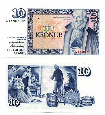 ICELAND   -  great   note   UNC     10   kronor    #48   -     LAST ONE !