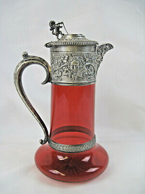 Antique Ruby Red Elkington & Co Claret Jug With Silverplate Mount Bacchus Lion