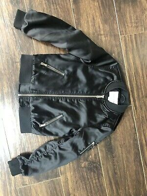 Girl's River Island Black Shiny Bombet Jacket Age 7/8 Years In Good Condition