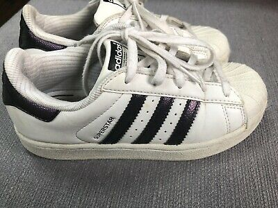 Girl's Purple & White Adidas Superstar Trainers Size Infant 13.5 In Good Cond