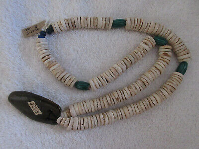 Very Nice Old Strand Of California Shell Trade Beads & Stone Pendant With Docs-!