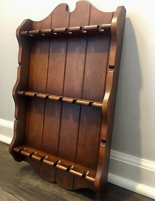 Vintage Wall Mounted 18 Spoon Collector/Display/Wood-Wavy Panel Trim-Dark Oak.