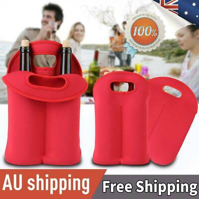 Red Two Bottles Insulated Wine/Beer Storage Tote Bag Neoprene Carrier Cooler Bag