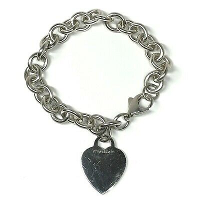 TIFFANY & CO. Sterling Silver Blank Engravable Heart Tag Chain Bracelet #3381