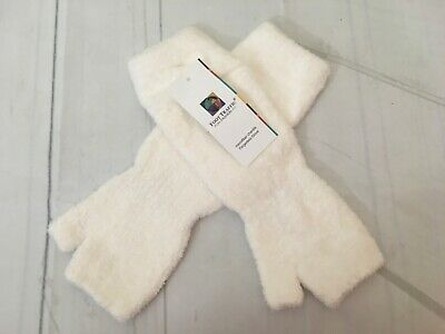 Chenille Microfiber Fingerless Winter White Gloves One Size NWT Warm Soft &Cozy
