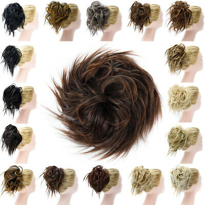 Messy Bun Curly Hair Extensions Scrunchie Ponytail As Human Hair Piece Blonde US