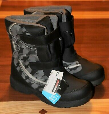 Boys Black & Gray Camo Camouflage Rugged Outback Snowboots Size 5 NIB NEW