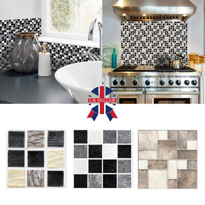 Kitchen Bathroom Tile Mosaic Stickers Self-adhesive Waterproof Home Wall Decor Y