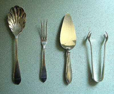 Dominick & Haff Pointed Antique Sterling Silver Set~Spoon,Tongs,Fork,Cheese Serv