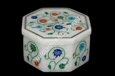 3''x3''x2'' Marble White Octagon Jewelry Box Marquetry Inlay Girls Gift E1109