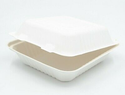 """Compostable Take away Food Container 7.8x8x3"""" White Sugarcane Clamshell x200"""