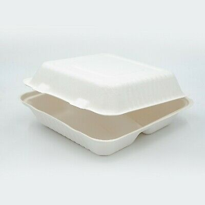 """Compostable Take away Container 7.8x8x3"""" White 3-COMPARTMENT Sugarcane Clamshell"""