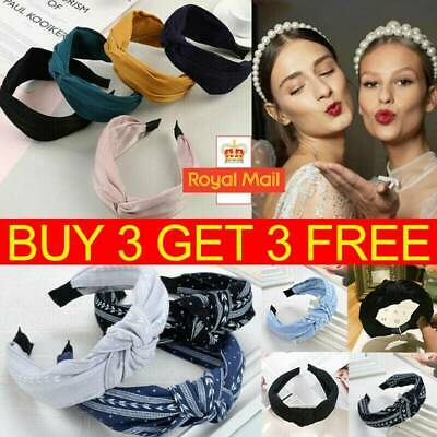 Women Cute Headband Alice Band Top Knot Fashion plain Headband Twist Hairband