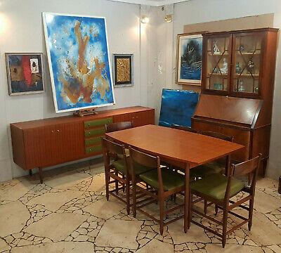 Original Svedish Vintage Design Dining Room  From 1960 Sideboard Table 6 Chairs