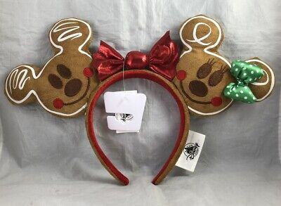 Disney Parks Christmas Mickey Minnie Mouse Gingerbread Ears Bow Holiday Headband