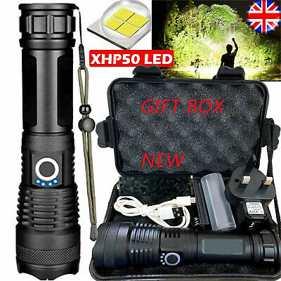 High Power 900000 Lumens XHP50 Zoomable Flashlight LED Rechargeable Torch Gift ~