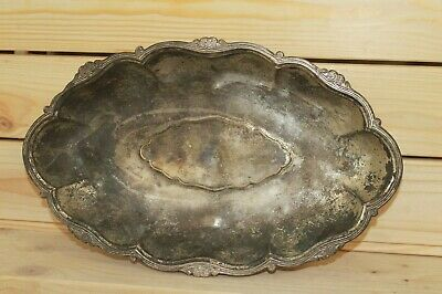 Antique Art Nouveau silver plated brass footed bowl