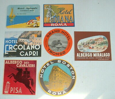 7 x PRE WAR HOTEL LABELS EUROPE All very good vintage condition
