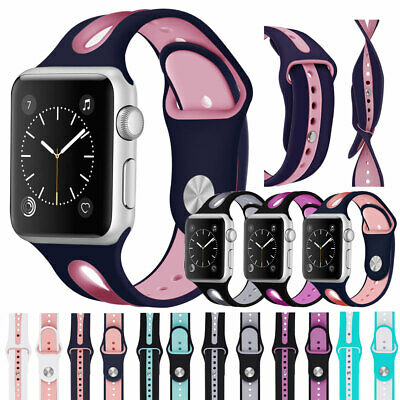 for Apple Watch Series 5 4 3 2 1 38/42/40/44mm Silicone Sports Band iWatch Strap