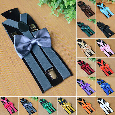 Mens Adjustable Elastic Suspenders/Braces With Matching Bow Tie - 16 Colours