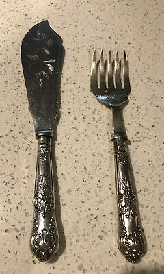 Vintage Sheffield Queens Silver Plated EPNS Fish Serving Fork And Knife
