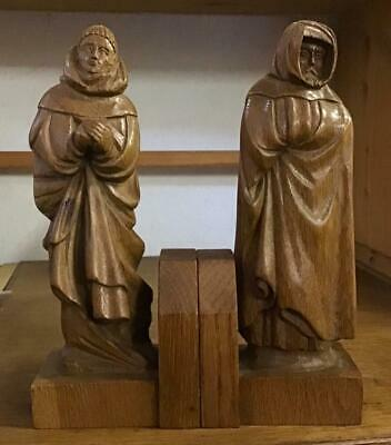 Antique HAND CARVED FRENCH WOODEN BOOKENDS Unusual Pair Of Hooded Monks