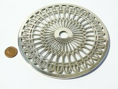 Antique 1923 Sterling Silver & Glass Trivet, Decanter Teapot Stand Adie Brothers